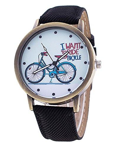 Unisex Karikatur beilaeufige Uhr Fahrrad Leder Quarz Kleid Armbanduhr schwarz