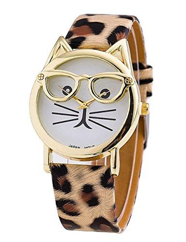 Glas Katze Kleid Uhr Beilaeufige Lederarmband Damen Quarz Armbanduhren Leopard