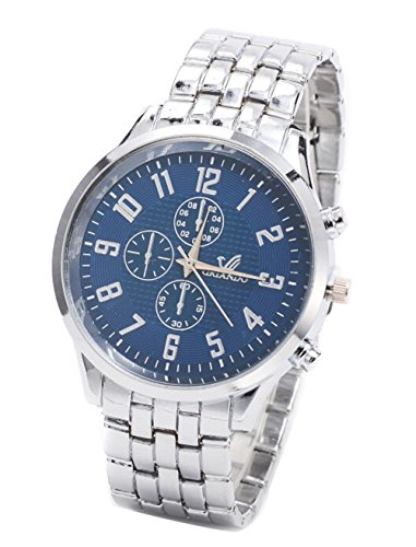 Klassische Herren Uhren Stahlband Geschaefts Quarz Sport Armbanduhr blau