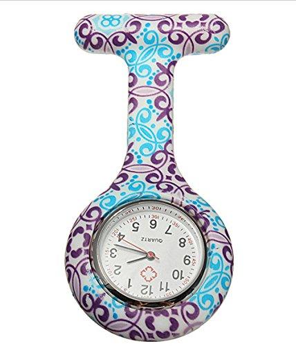 Krankenschwestern Silikon Uhren Blumen Sanitaeter Kittel Clip on Brosche Fob Uhr Taschenuhren