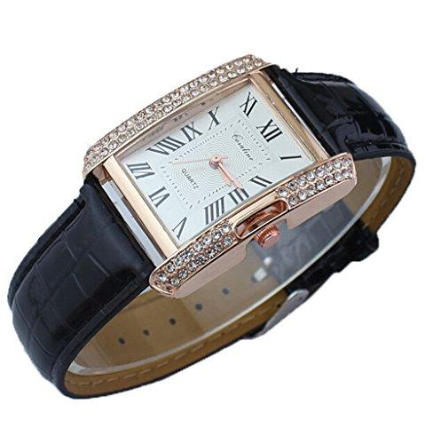 Platz Damen Kristall Lederarmband Quarz Armbanduhr Luxus Kleid Analog Uhr schwarz