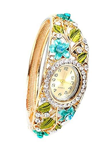 Luxus Damen Armband Quarz Uhr Blume Klassische Armbanduhr Kleid Uhren blau
