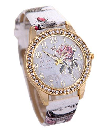 Pfingstrosen Muster Quarz Uhr Beilaeufige Leder Damen Kleid Armbanduhr weiss