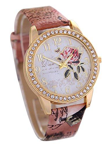 Pfingstrosen Muster Quarz Uhr Beilaeufige Leder Damen Kleid Armbanduhr braun