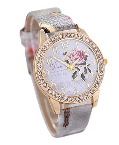 Pfingstrosen Muster Quarz Uhr Beilaeufige Leder Damen Kleid Armbanduhr grau