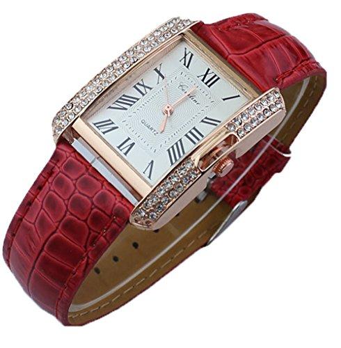 Platz Damen Kristall Lederarmband Quarz Armbanduhr Luxus Kleid Analog Uhr rot