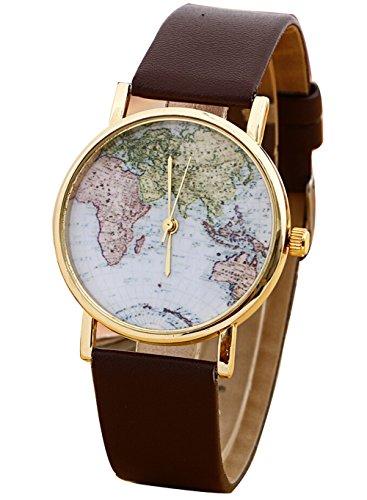 Retro Damen Weltkarte Leder Uhr Analog Brown