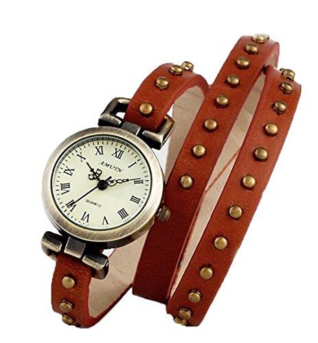 Retro Damen Analog Kleid Uhr Wickeln Niet Leder Uhren Brown