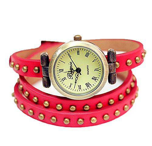 Retro Damen Analog Kleid Uhr Wickeln Niet Leder Uhren rot
