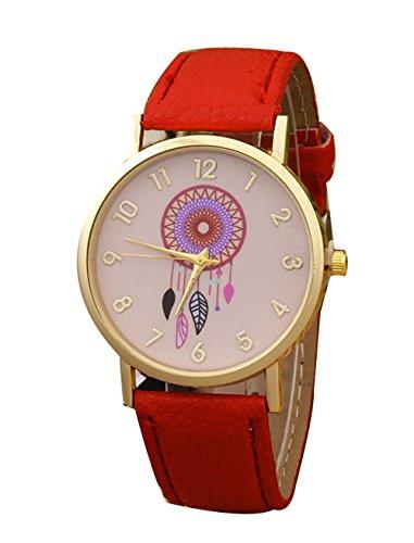 Retro Damen Traumfaenger Kleid Uhr Analog Quarzt Leder Armbanduhr rot