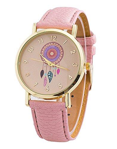 Retro Damen Traumfaenger Kleid Uhr Analog Quarzt Leder Armbanduhr pink