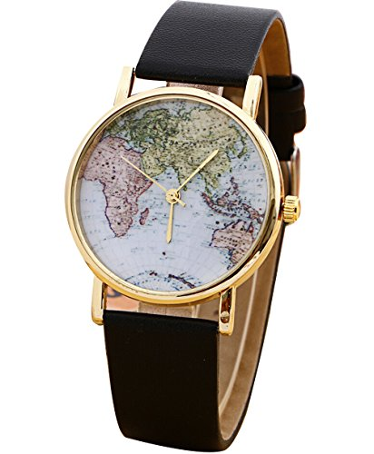 Retro Damen Weltkarte Leder Uhr Analog Quarz Armbanduhr schwarz