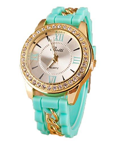 Neue Damen Roemische Ziffern Silikon Uhr Kristall Quarz Armband Uhren gruen
