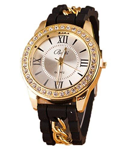 Neue Damen Roemische Ziffern Silikon Uhr Kristall Quarz Armband Uhren schwarz
