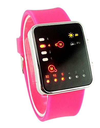 Silikon Buegel Binary LED Display Digital Uhren Damen pink