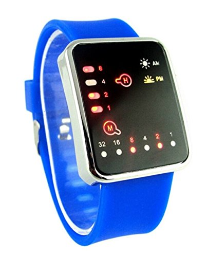 Silikon Buegel Binary LED Display Digital Uhren Damen Herren Armbanduhr blau