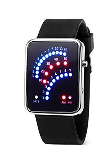 Damen Herren Silikon Uhren Farbwahl Digital Binaere LED Sport Armbanduhr schwarz