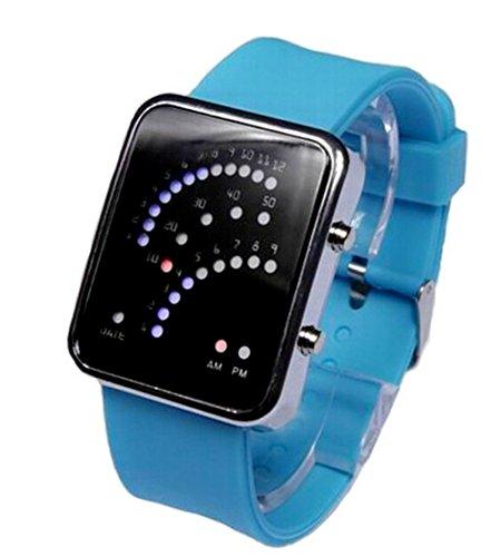 Damen Herren Silikon Uhren Farbwahl Digital Binaere LED Sport Armbanduhr skyblue