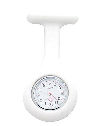 Silikon Krankenschwester Brosche Fob Uhren Sanitaeter Tunika Brosche Taschenuhr weiss