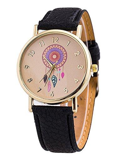 Retro Damen Traumfaenger Kleid Uhr Analog Quarzt Leder Armbanduhr schwarz