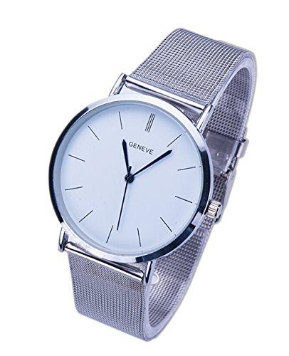 Unisex Beilaeufige Quarz Armbanduhr Damen Metall Masche Legierung Buegel Kleid Uhren silber