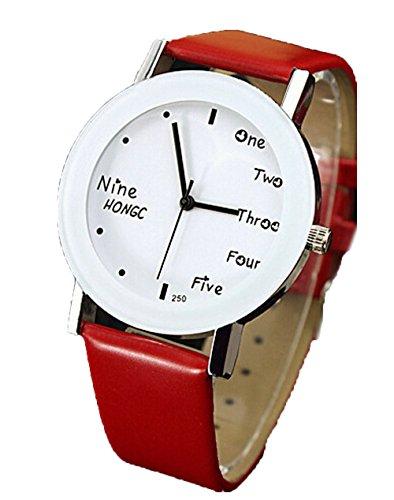 Unisex Leder Briefe Uhr Damen Herren Sport Quarz Analog Armbanduhr rot