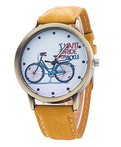 Unisex Karikatur beilaeufige Uhr Fahrrad Leder Quarz Kleid Armbanduhr gelb