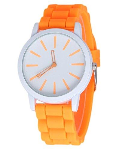 Unisex Kinder Sport Silikon Uhr Gelee en fuer Damen orange