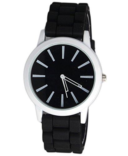 Unisex Kinder Sport Silikon Uhr Gelee Quarz Armbanduhren fuer Damen schwarz