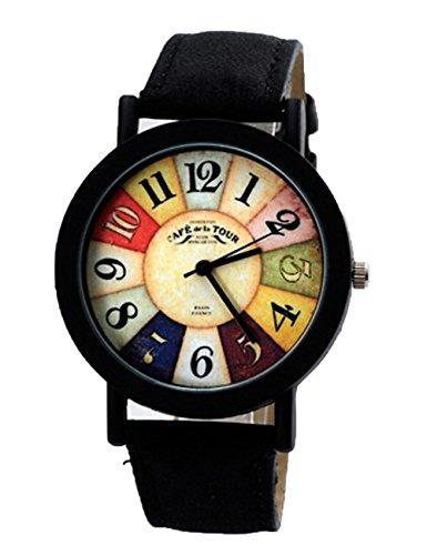 Vintage Unisex Quarz Uhren Kreative Damen Beilaeufige Runde Armbanduhr schwarz
