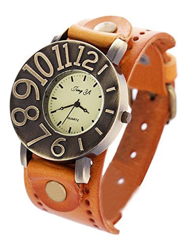 Vintage Umhaengeriemen aus Leder Uhr Damen Quarz analoge Armbanduhr Kleid orange