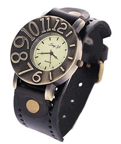 Vintage Umhaengeriemen aus Leder Uhr Damen Quarz analoge Armbanduhr Kleid schwarz