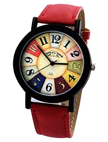 Vintage Unisex Quarz Uhren Kreative Damen Beilaeufige Runde Armbanduhr rot