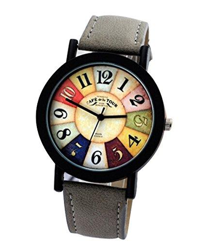 Vintage Unisex Quarz Uhren Kreative Damen Beilaeufige Runde Armbanduhr grau