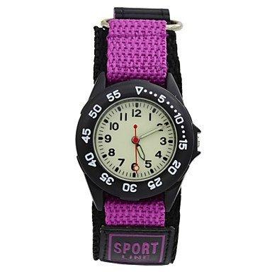 Kinder Abendessen licht Quarz Sportuhr Leinwand Nylonband Militaer Armbanduhr Junge Schueler farblich sortiert