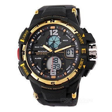 Herren Beobachten digital Sportuhr LCD Kalender Chronograph Wasserdicht Duale Zeitzonen Alarm Sportuhr PU Band Armbanduhr