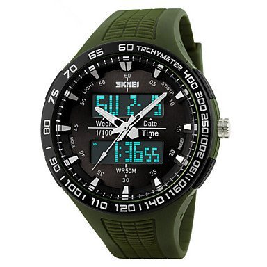 Herren Beobachten digital Sportuhr LED Kalender Chronograph Wasserdicht Duale Zeitzonen Alarm Sportuhr PU Band Armbanduhr