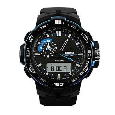 Herren Beobachten Quartz Sportuhr LED Kalender Chronograph Wasserdicht Duale Zeitzonen Alarm Sportuhr PU Band Armbanduhr