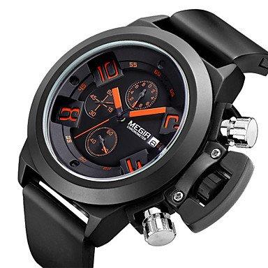 Herren Beobachten Japanischer Quartz Sportuhr Kalender Chronograph Wasserdicht Silikon Band Armbanduhr