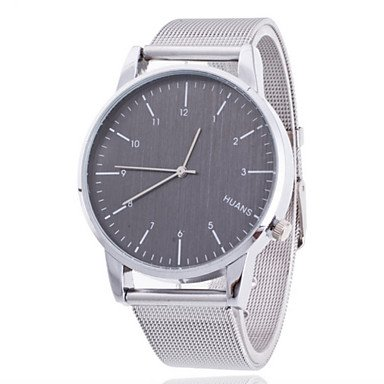 Fenkoo Herren Beobachten Quartz Kleideruhr Armbanduhren fuer den Alltag Edelstahl Band Armbanduhr Silber
