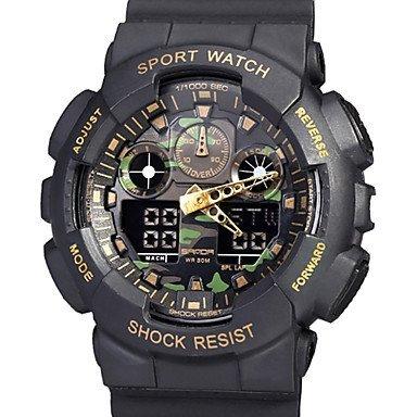 Fenkoo Herren Beobachten digital Militaeruhr LCD Kalender Wasserdicht Transparentes Ziffernblatt Duale Zeitzonen Alarm Sportuhr PU