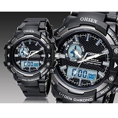 Unisex Beobachten digital Sportuhr LED Kalender Chronograph Wasserdicht Caucho Band Armbanduhr