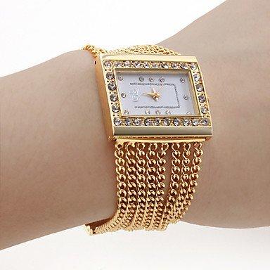 Fenkoo Frauen pc Bewegung goldenen Band weisses Zifferblatt Armbanduhr mit Diamanten czechic Dekoration