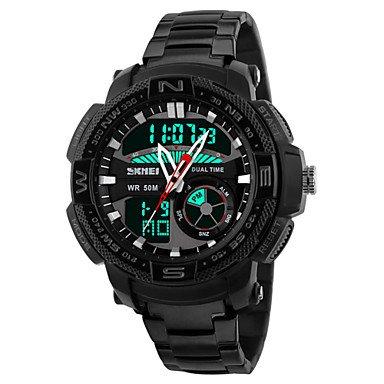 Fenkoo Quartz LED Kalender Chronograph Wasserdicht Duale Zeitzonen Alarm Edelstahl Band Armbanduhr Schwarz Silber