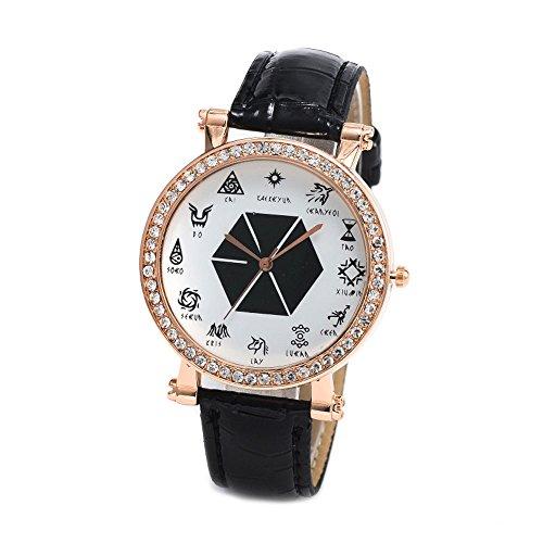 Fenkoo Damen Armbanduhr Diamant 12 EXO Symbole Quarz Analog Armbanduhr schwarz