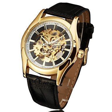 Fenkoo automatische mechanische hohlen out Uhr mit Lederband fuer Herren