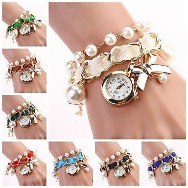 Fenkoo Frauen haengen Bogen Armbanduhr neue Perle Serie Uhren farblich sortiert c d 118