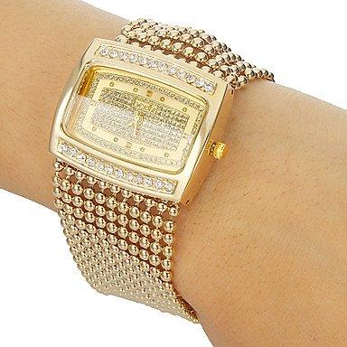 Fenkoo Frauen Diamante Fall Legierung Band Armbanduhr