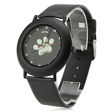 fenkoo Frauen der Hund Pfoten Stil PU Analog Quarz Armbanduhr