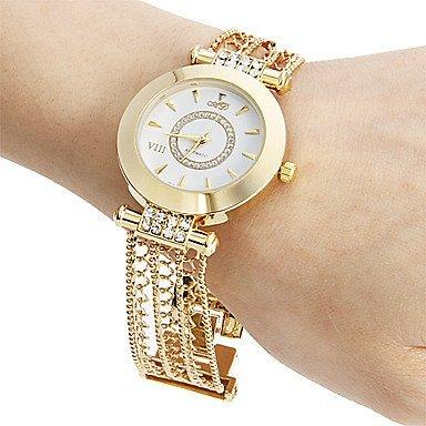 Fenkoo Frauen runden Zifferblatt Hohl Gravur Legierung Band Quarz Analog Armband Uhr